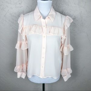 NWT Forever 21 Blush Pink Ruffled Blouse